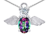 Original Star K™ Angel Of Love Protection Pendant With Oval 8x6mm Rainbow Mystic Topaz style: 303626