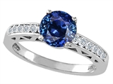 Tommaso Design Created Sapphire and Genuine Diamond Solitaire Engagement Ring