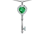 Original Star K™ Key To My Heart Love Pendant With 7mm Heart Shape Simulated Emerald