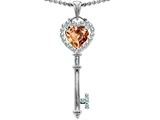 Star K™ Key To My Heart Love Pendant Necklace With 7mm Heart Shape Simulated Imperial Yellow Topaz style: 303649