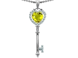 Original Star K Key To My Heart Love Pendant With 7mm Heart Shape Simulated Yellow Sapphire