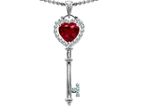 Star K™ Key To My Heart Love Pendant Necklace With 7mm Heart Shape Created Ruby style: 303651