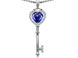 Original Star K™ Key To My Heart Love Pendant With 7mm Heart Shape Created Blue Sapphire style: 303652
