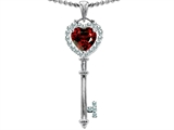 Star K™ Key To My Heart Love Pendant Necklace With 7mm Heart Shape Simulated Garnet style: 303657
