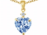 Original Star K Heart Shaped Simulated Aquamarine Pendant