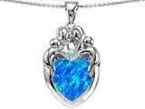 Original Star K™ Large Loving Mother Twins Family Pendant With 12mm Created Heart Shape Blue Opal