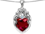 Original Star K™ Large Loving Mother Twin Family Pendant With 12mm Heart Created Ruby