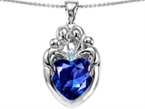 Original Star K™ Large Loving Mother Twins Family Pendant With 12mm Heart Created Sapphire
