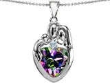 Original Star K™ Large Loving Mother Father With Child Family Pendant with 12mm Heart Shape Mystic Topaz