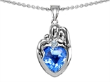 Original Star K™ Loving Mother And Father With Child Family Pendant With 8mm Genuine Heart Shape Blue Topaz