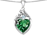 Original Star K™ Large Loving Mother With Child Family Pendant With 12mm Heart Shape Simulated Emerald