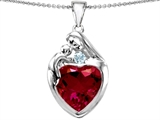 Original Star K™ Large Loving Mother With Child Family Pendant With 12mm Heart Created Ruby