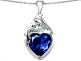 Original Star K™ Large Loving Mother With Child Family Pendant With 12mm Heart Created Sapphire
