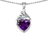 Original Star K™ Loving Mother With Child Family Pendant With 8mm Heart Shape Simulated Amethyst