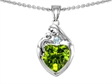Original Star K™ Loving Mother With Child Family Pendant With Heart Shape Genuine Peridot