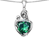 Original Star K™ Large Loving Mother With Child Pendant With 12mm Heart Shape Simulated Emerald
