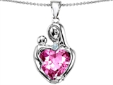 Original Star K™ Large Loving Mother With Child Pendant 12mm Heart Shape Created Pink Sapphire