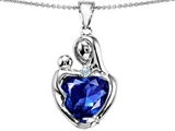 Original Star K™ Large Loving Mother With Child Pendant With 12mm Heart Shape Created Sapphire