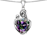 Original Star K™ Large Loving Mother With Child Pendant 12mm Heart Shape Mystic Rainbow Topaz