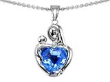 Original Star K™ Loving Mother With Child Hugging Pendant With Genuine 8mm Heart Shape Blue Topaz