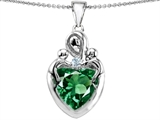 Original Star K™ Large Loving Mother Twin Children Pendant With Simulated 12mm Heart Shape Emerald