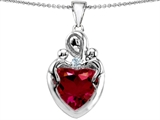 Original Star K™ Large Loving Mother Twin Children Pendant With 12mm Heart Created Ruby