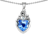 Original Star K™ Loving Mother Twin Children Pendant With Genuine 8mm Heart Shape Blue Topaz