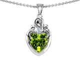 Original Star K™ Loving Mother With Children Pendant With Genuine Heart Shape Peridot