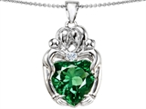 Original Star K™ Large Loving Mother Twins Family Pendant with 12mm Heart Shape Simulated Emerald