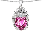 Original Star K™ Large Loving Mother Twins Family Pendant With 12mm Heart Shape Created Pink Sapphire