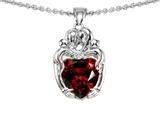 Original Star K™ Loving Mother And Twins Family Pendant With Genuine 8mm Heart Shape Garnet