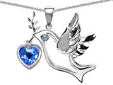 Original Star K Peace Love Dove Pendant with Genuine Heart Shape 7mm Blue Topaz