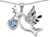 Original Star K Peace Love Dove Pendant with 7mm Heart Shape Simulated Aquamarine