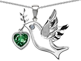 Original Star K™ Peace Love Dove Pendant with Heart Shape 7mm Simulated Emerald