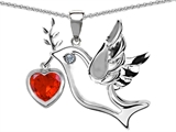 Original Star K Peace Love Dove Pendant with Heart Shape 7mm Simulated Orange Mexican Fire Opal
