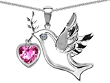Star K™ Peace Love Dove Pendant Necklace with Heart Shape 7mm Created Pink Sapphire style: 303763