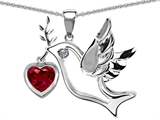 Original Star K Peace Love Dove Pendant with Heart Shape 7mm Created Ruby