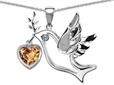 Original Star K™ Peace Love Dove Pendant with Heart Shape 7mm Simulated Imperial Yellow Topaz