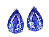 Tommaso Design™ 8x6 mm Pear Shaped Genuine Tanzanite Drop Earring Studs