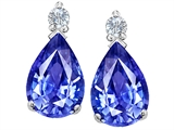 Tommaso Design™ Natural Genuine Quality 8x6 mm Pear Shaped Tanzanite and Diamonds Drop Earring Studs