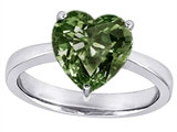 Original Star K Large 10mm Heart Shape Solitaire Engagement Ring with Simulated Green Sapphire