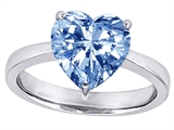 Original Star K Large 10mm Heart Shape Solitaire Engagement Ring with Simulated Aquamarine