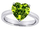 Original Star K™ Large 10mm Heart Shape Solitaire Engagement Ring With Simulated Peridot