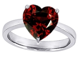 Original Star K™ Large 10mm Heart Shape Solitaire Engagement Ring With Simulated Garnet