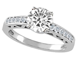 Tommaso Design™ Genuine White Topaz and Diamond Solitaire Engagement Ring style: 303791