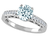 Tommaso Design Genuine Aquamarine and Diamond Solitaire Engagement Ring