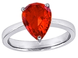 Original Star K™ Large 11x8 Pear Shape Solitaire Engagement Ring with Simulated Orange Mexican Fire Opal