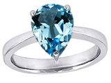 Original Star K™ Large 11x8 Pear Shape Solitaire Engagement Ring With Simulated Blue Topaz