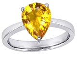 Star K™ Large 11x8 Pear Shape Solitaire Ring with Simulated Yellow Sapphire style: 303802