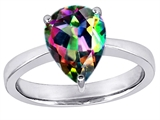 Original Star K™ Large 11x8 Pear Shape Solitaire Engagement Ring with Multicolor Mystic Topaz